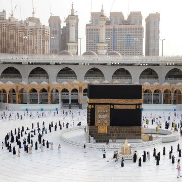 FILE PHOTO: A general view picture shows the Kaaba as Muslim pilgrims keep social distance while performing their final Tawaf, marking the end of Haj pilgrimage amid the coronavirus disease (COVID-19) pandemic, in the holy city of Mecca, Saudi Arabia August 2, 2020. Sultan Al-Masoudi/Handout via REUTERS. THIS IMAGE HAS BEEN SUPPLIED BY A THIRD PARTY. MANDATORY CREDIT/File Photo